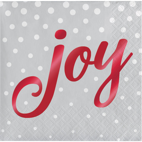 Holiday Sparkle & Shine Silver Joy Beverage Napkin/Case of 192