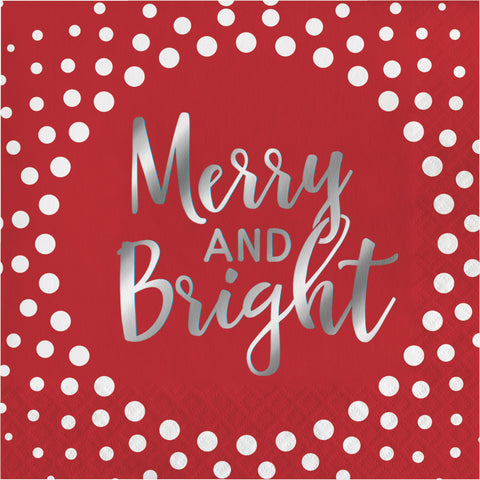 Holiday Sparkle & Shine Red Merry and Bright Luncheon Napkin/Case of 192