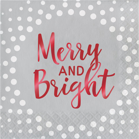 Holiday Sparkle & Shine Silver Merry and Bright Luncheon Napkin/Case of 192