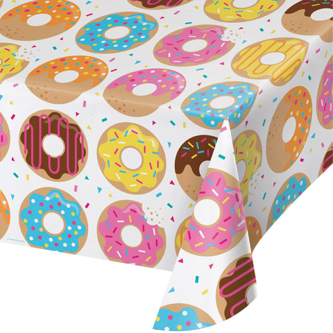 Donut Time 54 x 102 All Over Print Plastic Tablecover/Case of 6