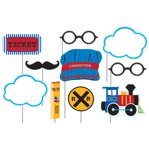 "All Aboard Photo Booth Props w/10"" Stick/Case of 60"