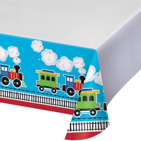 "All Aboard 54"" x 102"" Border Print Plastic Tablecover/Case of 6"