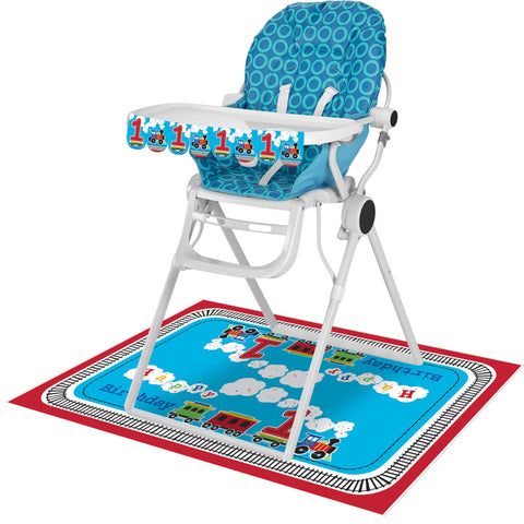 "All Aboard High Chair Kit, Banner : 3 1/2"" x 26"", Plastic Floor Mat : 30"" x 48""/Case of 6"
