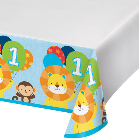 "One is Fun Boy 54"" x 102"" Plastic Tablecover Border Print/Case of 6"