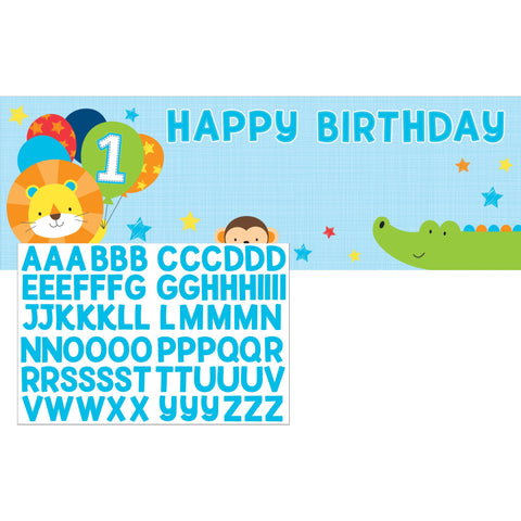 "One is Fun Boy 20"" x 60"" Giant Party Banner w/Stickers/Case of 6"