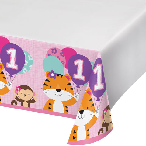 "One is Fun Girl 54"" x 102"" Plastic Tablecover Border Print/Case of 6"