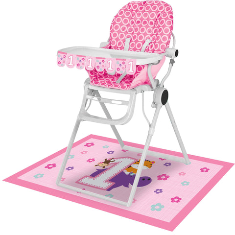 "One is Fun Girl High Chair Kit, Banner : 3 1/2"" x 26"", Floor Mat : 30"" x 48""/Case of 6"