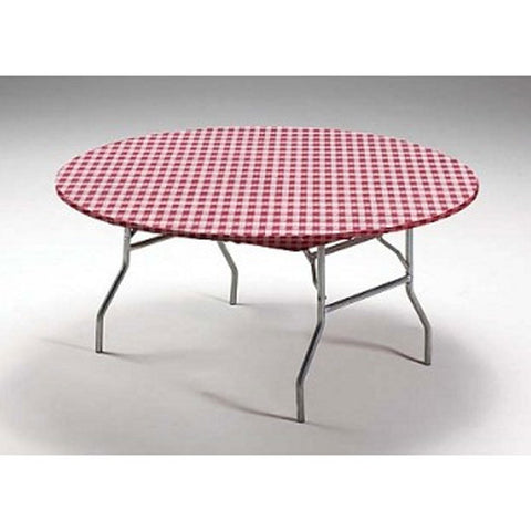 60 inch Round Plastic Stay Put Tablecover Red Gingham/Case of 12