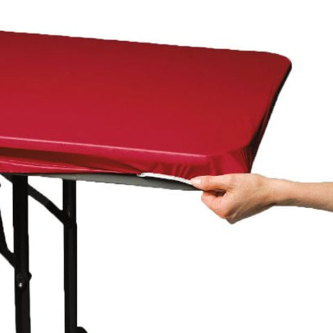 29 x 72 Plastic Stay Put Tablecover Regal Red/Case of 12