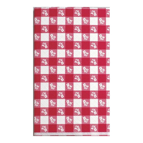 29 x 72 Plastic Stay Put Tablecover Red Gingham/Case of 12
