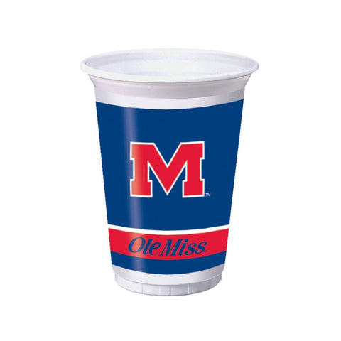 20 oz Printed Plastic Cups Univ of Mississippi/Case of 96