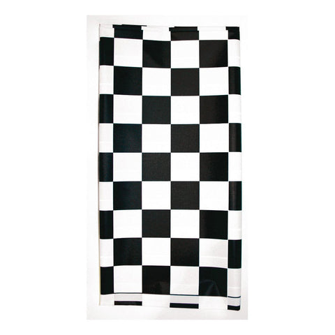 29 x 72 Plastic Stay Put Tablecover Black Check/Case of 12