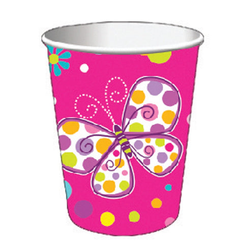 9 oz Hot/Cold Paper Cups Butterfly Sparkle/Case of 96