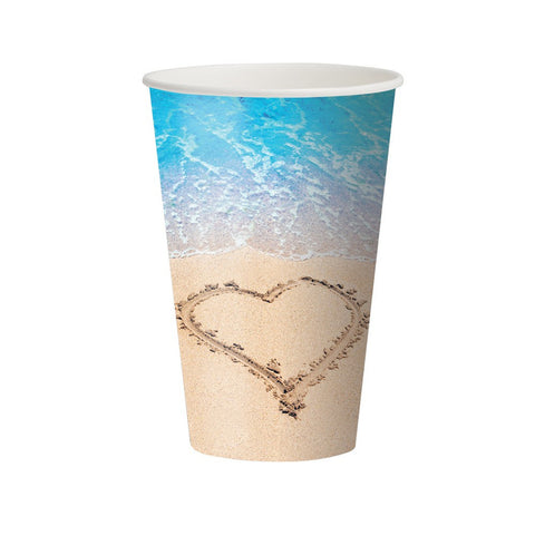 12 oz Hot/Cold Paper Cups Beach Love/Case of 96