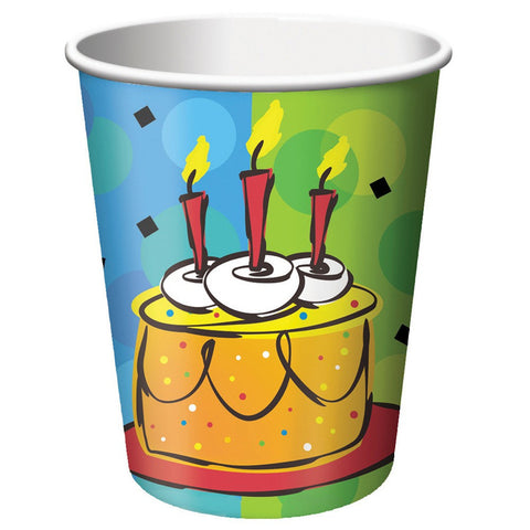 9 oz Hot/Cold Paper Cups Cake Celebration/Case of 96