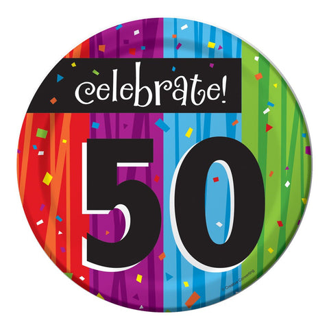 7 inch Lunch Plates 50th Milestone Celebrations/Case of 96