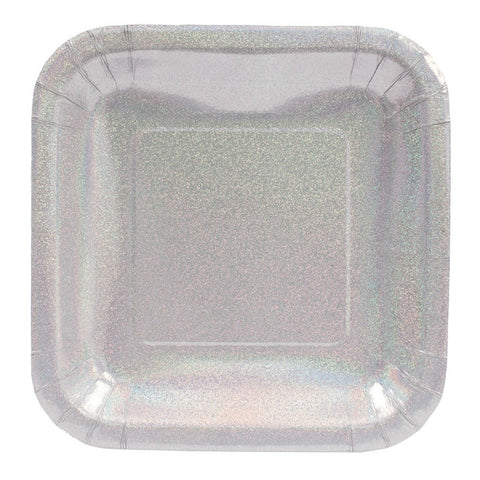 Glitz Silver 7 inch Square Prismatic Lunch Plates/Case of 96