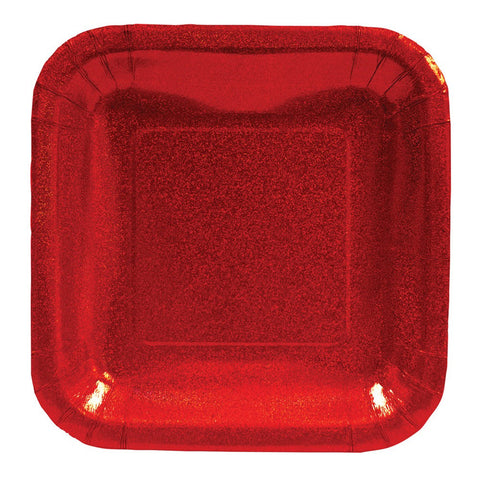 Glitz Red 7 inch Square Prismatic Lunch Plates/Case of 96