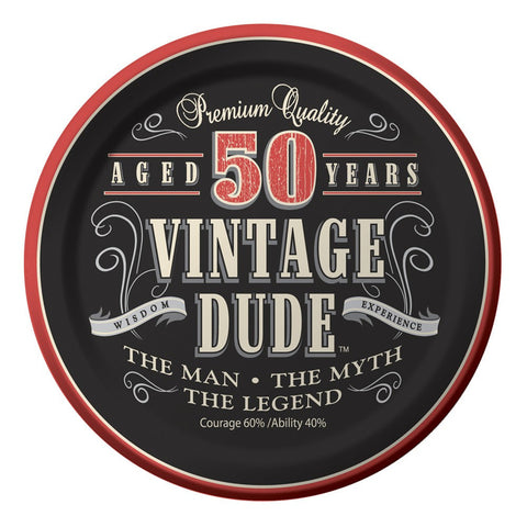 7 inch Lunch Plates 50th Vintage Dude/Case of 96