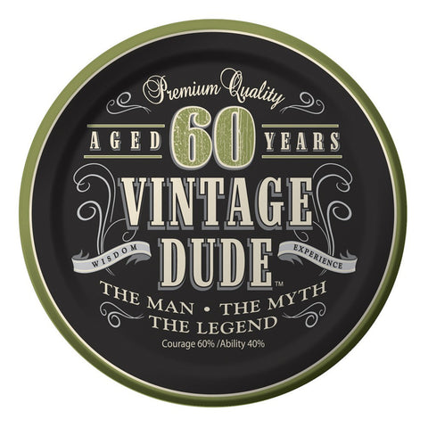 7 inch Lunch Plates 60th Vintage Dude/Case of 96