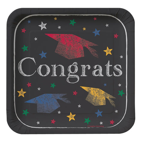 Chalk It Up Grad 7 Inch Lunch Plates Square/Case of 96