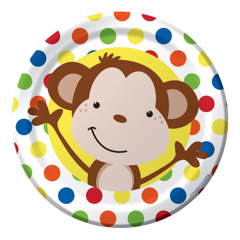 7 inch Round Lunch Plate Fun Monkey/Case of 96