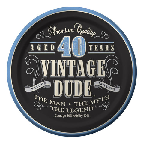 7 inch Lunch Plates 40th Vintage Dude/Case of 96