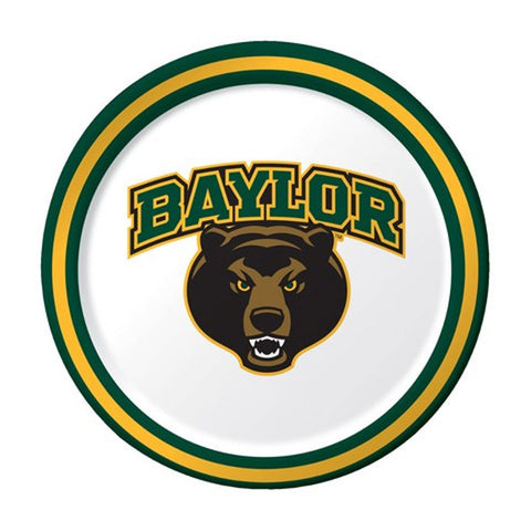 Collegiate 7 inch Lunch Plates Baylor University/Case of 96