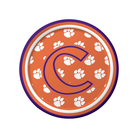Clemson Univ 7 inch Round Lunch Plates/Case of 96