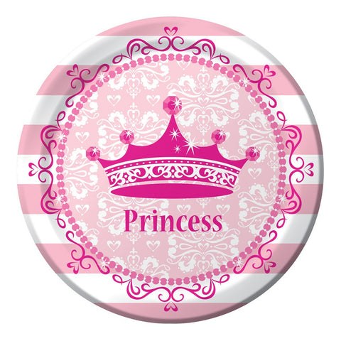 Pink Princess Royalty 7 inch Lunch Plates/Case of 96
