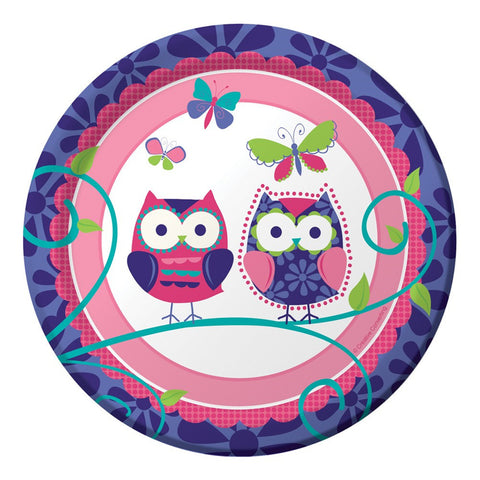 7 inch Lunch Plates Owl Pal Birthday/Case of 96