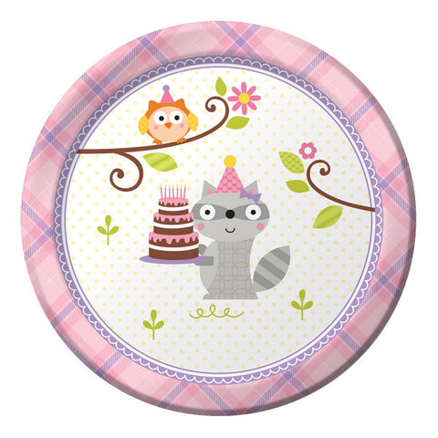 Happi Woodland Girl 7 inch Round Lunch Plates/Case of 96