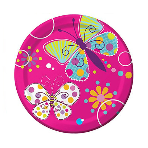 7 inch Foil Lunch Plates Butterfly Sparkle/Case of 96