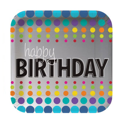 7 inch Square Foil Lunch Plates Birthday Pop/Case of 96