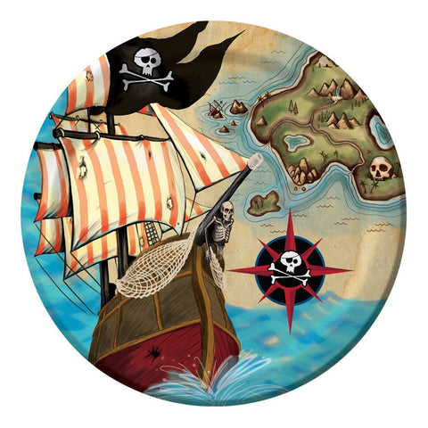Pirates Map 7 inch Round Lunch Plates/Case of 96