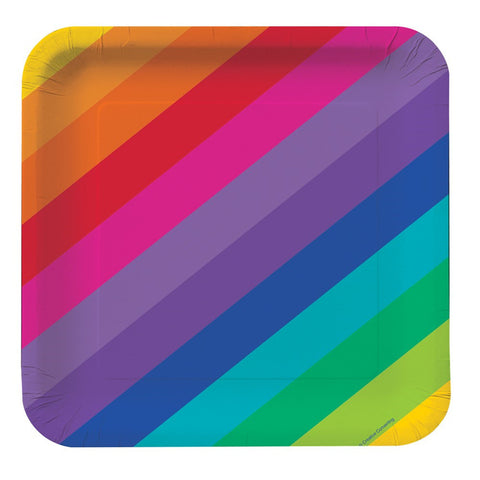 Rainbow 7 inch Square Lunch Plates/Case of 96