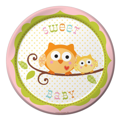 7 inch Lunch Plates Sweet Baby Girl Happi Tree/Case of 96