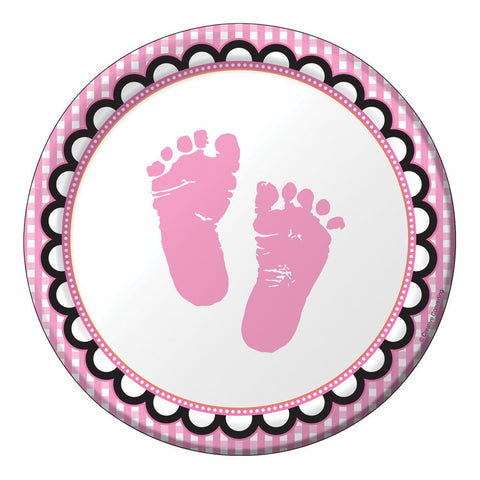 7 inch Lunch Plates Sweet Baby Feet Pink/Case of 96