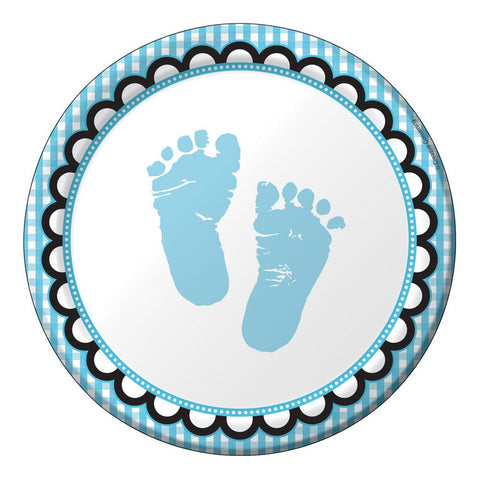 7 inch Lunch Plates Sweet Baby Feet Blue/Case of 96