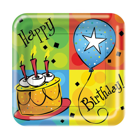 7 inch Square Lunch Plates Cake Celebration/Case of 96