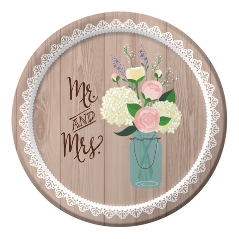 Rustic Wedding 7 inch Round Lunch Plates/Case of 96