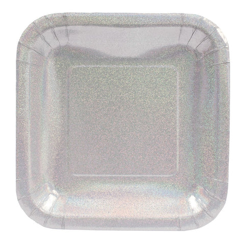 Glitz Silver 9 inch Prismatic Square Dinner Plates/Case of 96