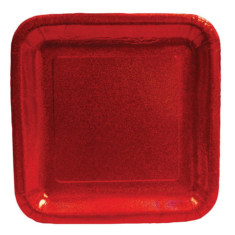 Glitz Red 9 inch Prismatic Square Dinner Plates/Case of 96