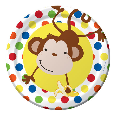 9 inch Round Dinner Plate Fun Monkey/Case of 96