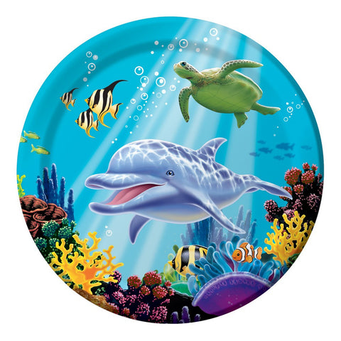 9 inch Round Dinner Plates Ocean Party/Case of 96