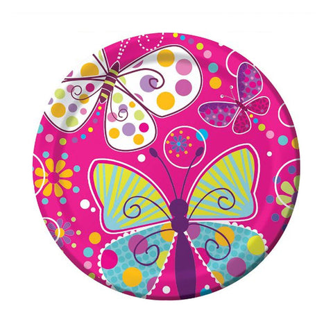9 inch Foil Round Dinner Plates Butterfly Sparkle/Case of 96