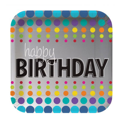 9 inch Square Foil Dinner Plates Birthday Pop/Case of 96