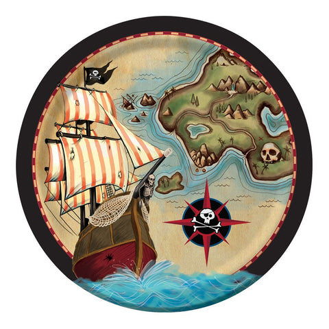 Pirates Map 9 inch Round Dinner Plates/Case of 96