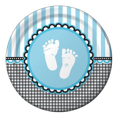 9 inch Round Dinner Plates Sweet Baby Feet Blue/Case of 96