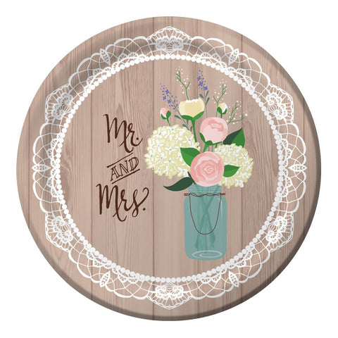 Rustic Wedding 10 inch Round Banquet Plates/Case of 96